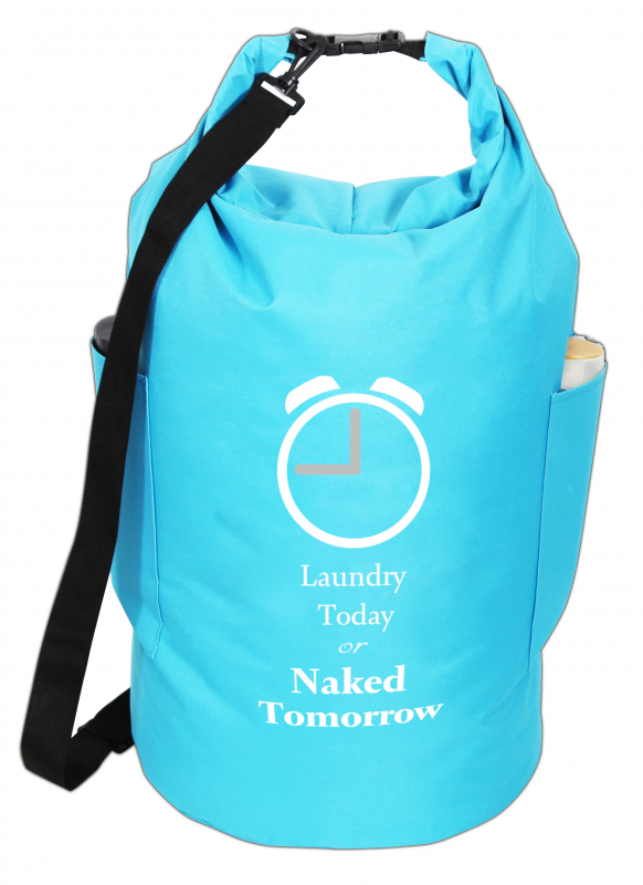 "Wäschesack Blau ""Laundry today or naked tomorrow"""